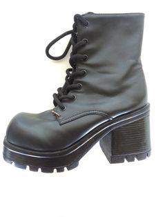 Women's 1990s Goth Platform Boots by goldbunnyvintage