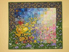 Art Quilt Sunshine Garden Wall Hanging by TahoeQuilts on Etsy, $138.00