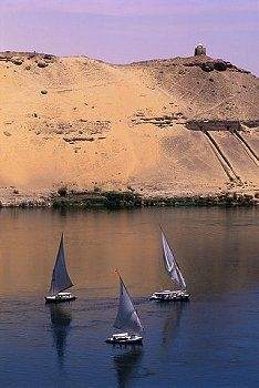 Three Feluccas on the River Nile Aswan Egypt