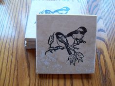 Chickadee coasters, set of four hand stamped on travertine tile with cork backing.  A great hostess gift, handmade with gift card included. by MooseRiverCardShop on Etsy