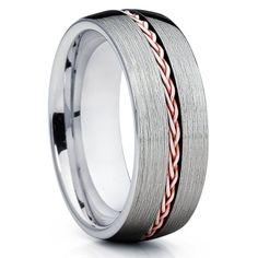 8mm,Rose Gold Tungsten Ring,Rose Gold Braid Ring,Tungsten Wedding Band,Brushed Tungsten Ring,Unique Tungsten Band,Rose Gold Tungsten,Comfort Fit