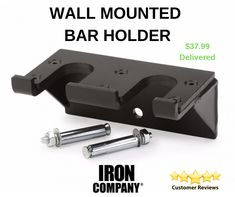 Available in one or two bar options. Fully welded thick steel frame with protective thick nylon guards. Fitness Accessories, Workout Accessories, Wall Mounted Bar, Steel Frame, Olympics, Iron, Steel