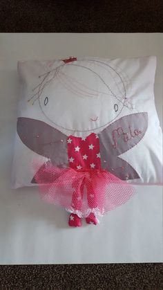 Adorable hand made cushion. 100% Cotton fabric.  Can be personalised with any name and colour scheme.