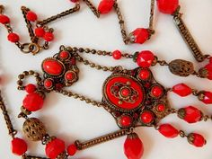 Neiger Czech Lipstick Red Art Deco Flapper Necklace by DresdenLyon