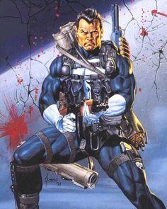 Punisher: Armory (1991) by Joe Jusko The Punisher, Punisher Comic Book, Punisher Comics, Comic Book Characters, Comic Book Heroes, Marvel Characters, Comic Character, Comic Books Art, Punisher