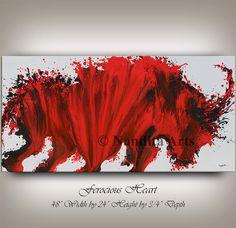 Original Bull Animal painting ABSTRACT by ContemporaryArtDaily