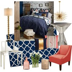 """Coral Navy Bedroom"" by ashleymhallberg on Polyvore"