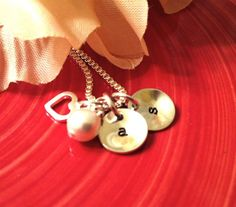 Hand Stamped Mommy or Couples Necklace  by ForeverHeartPrints, $39.00