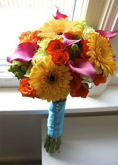 bright summer wedding flowers - hot pink, yellow, orange, lime green, and bright aqua