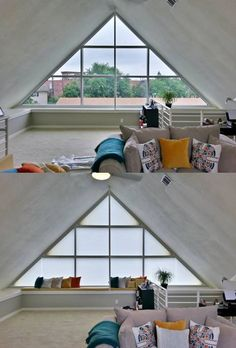 Add exceptional warmth and energy efficiency savings by covering triangular shaped windows in style with Duette® honeycomb shades. ♦ Hunter Douglas window treatments #LoftSpaces