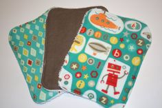 Wash cloth set of 3  boy  teal robot by peckcloths on Etsy, $10.00