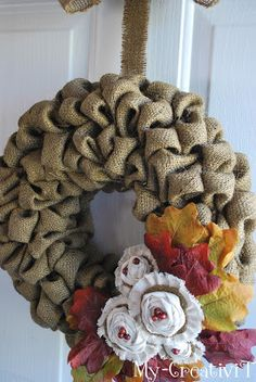Do for front door.  Use colored burlap and use some other color burlap to make flowers to go on it.