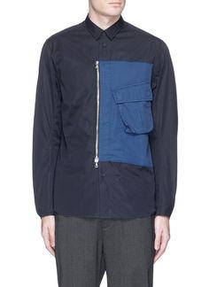 OAMC Twill zip panel poplin shirt. #oamc #cloth #拼色设计纯棉衬衫