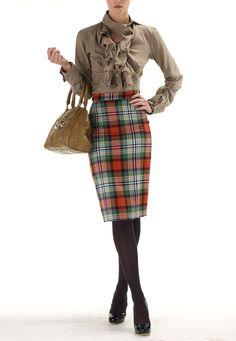 Vivienne Westwood Tartan Pencil Skirt...