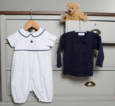 100% cotton Sailing Boat Romper with merino cashmere George jacket.