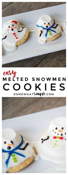 These melted snowman cookies are an easy winter treat your kids, coworkers, or party guests will LOVE!