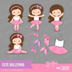 CUTE BALLERINA Digital Clipart , Clipart Ballerina / Personal and Commercial Use / Instant Download