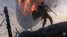 \'Airship on Fire\' is an official concept artwork for Battlefield 1, the video game created by EA DICE. The artist is Senior Concept Artist Robert Sammelin.
