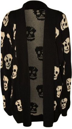 PaperMoon Women's Plus Size Skull Long Sleeve Knitted Cardigan:Amazon:Clothing