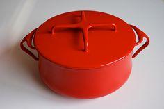Dansk Kobenstyle Vintage Enamelware Pot in red.    What would look good cooking in this?