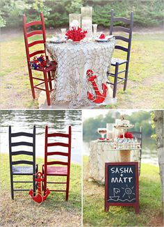 Fish net for tablescape. More ideas here: http://www.completely-coastal.com/2012/11/top-tablescape-idea-nautical.html