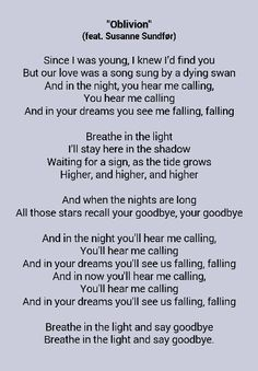 Google lyrics to oblivion by m83 featuring Susanne sundfør