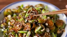 Salty, spicy, and addicting.   KUNG PAO BRUSSEL SPROUTS