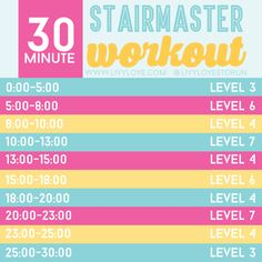 If you have ever been on a stair master, you know that those suckers make you SWEAT! I love the intensity I get from that machine that I don't get anywhere else! This workout is perfect for a cardio w