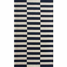 @Overstock - Invoke the feel and warmth of a country home with this stunning woolen hand-hooked rug. Meticulously made using a petit point stitches construction, make your favorite space feel right at home.http://www.overstock.com/Home-Garden/Handmade-Luna-Stripes-Navy-Wool-Rug-76-x-96/6437472/product.html?CID=214117 $285.59
