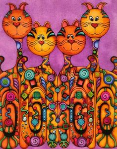 orange cats provided by Whimsical Art by Holly Kitaura Honolulu 96822