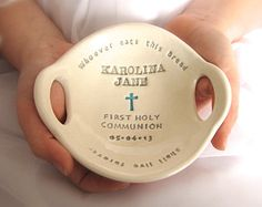 FIRST COMMUNION Gift:  Original Clarey Clayworks Bowl -- stamped with name, date, scripture verse, heirloom gift for First Communion