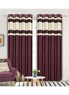 This purple colour Curtains is 5 feet is made up of polyster which is of length 60 Inches and width 48 Inches.
