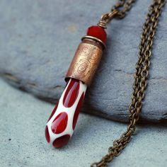 Glass Bullet Casing Necklace Boro Lampwork Brass Pendant Jewelry - Dragons Blood