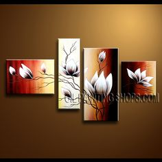 Enchanting Contemporary Wall Art Hand Painted Oil Painting Stretched Ready To Hang Tulip Flowers. This 4 panels canvas wall art is hand painted by Anmi.Z, instock - $135. To see more, visit OilPaintingShops.com