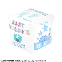 CUSTOMIZABLE Birth Keepsake CUBED POUF Cube Pouf