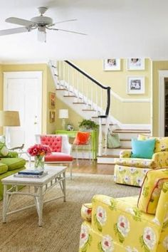 We love this color combo lemony yellow and lime green, with just a few pops of aqua and coral. Ever seen that in a living room before? Learn how to add the yellow aesthetic in your home decor and pair it with other colors, such as yellow and purple, yellow and blue, and more. Yellow paint, yellow walls, and even yellow wallpaper are trending, thanks to Gen Z Yellow. Learn how to incorporate yellow in your interior design on the Hadley Court blog. #yellowaesthetic #yellowpaint Home Design Blogs, Best Interior Design, Luxury Interior, Shades Of Yellow, Purple Yellow, Aqua, Coral, Living Room Trends, Living Rooms