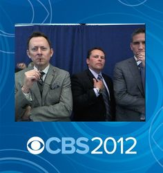 PERSON OF INTEREST Michael Emerson, Kevin Chapman and Jim Caviezel strike a pose on the red carpet at 2012 CBS Upfront.