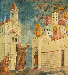 Giotto Escenas de la vida de San Francisco, en Asís: La expulsión de los diablos de Arezzo.