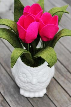 Felt Tulips in an Owl Vase by TheFeltFlorist on Etsy