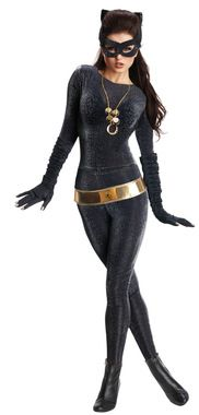 Our best quality costume of one of the most well-known villains from the classic 60s Batman TV series. Jumpsuit, belt, gloves with nails, ears, eyemask, and necklace. Fits adult womans small sizes 6-10. Polyester/lycra.