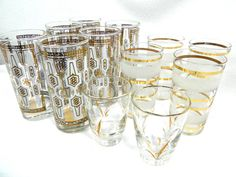 Mid Century barware drink glasses white and gold by MabelsParlor
