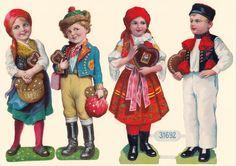 alte Oblaten Glanzbilder / nach 1900 / 2 x Hänsel + Gretel bis ca. 19 cm hoch