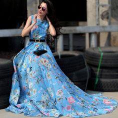 Ladies elegant sleeveless maxi dress in blue with pastel flowers. Sizes S to XXL.  #dress #maxi #fashion #blue #floral