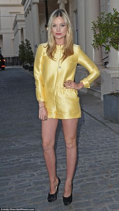Mellow yellow: Presenter Laura Whitmore took a fashion risk in a lemon coloured playsuit b...