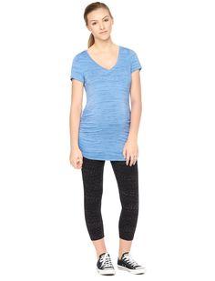 Motherhood Maternity Short Sleeve Deep V-neck Side Ruched Maternity T Shirt