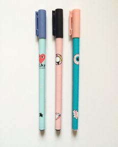Pink and Mint Fine Tip Pens 0.35mm in Black Ink - Refillable