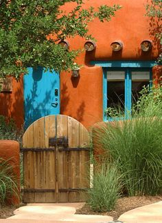 Adobe style gate and courtyard...totally AZ...totally luv it!!! More