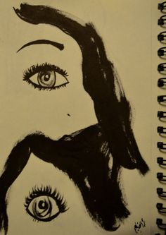 illustration, sketch, women, eyes