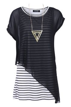 ROMWE   Chiffon Panel Striped Black Dress, The Latest Street Fashion
