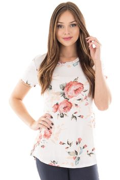 Lime Lush Boutique - Ivory Short Sleeve Top with Blush Floral Print, $29.99 (https://www.limelush.com/ivory-short-sleeve-top-with-blush-floral-print/)